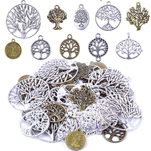 BronaGrand Pack of 50 Alloy Tree of Life Charms Pendents Jewelry Findings for Making Bracelet and Necklace