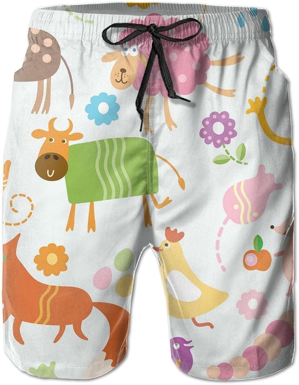 Men's Shorts Cartoon AnimalBeach Board Short Elastic Waist Trunk Quick Dry Swim With Pockets