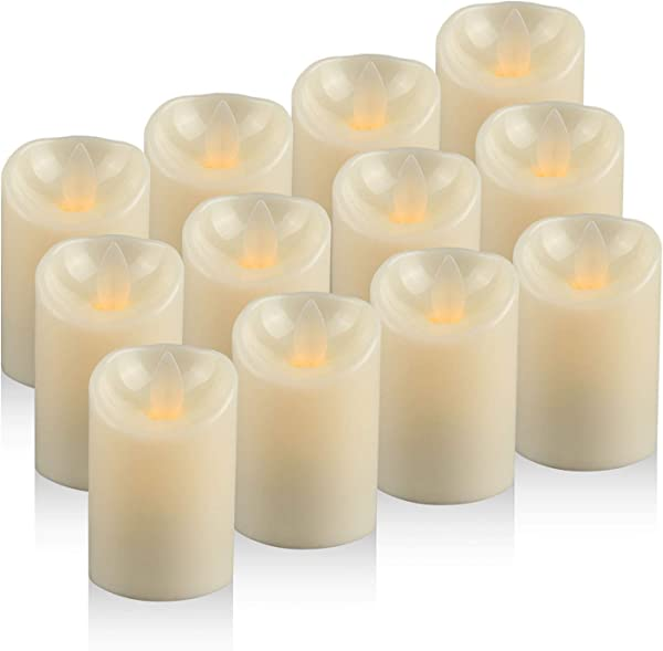 Moving Wick LED Candles Tea Light Battery Operated Flickering Electric Candles Pack Of 12 D 2 X H 3 Unscented Realistic Tealight Flameless Candles In Warm White