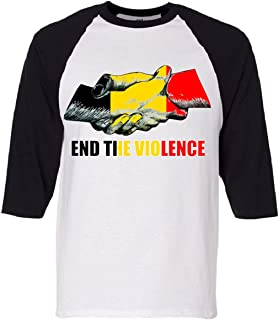 End The Violence Attacks On Brussels Belgium Tribute Baseball Sleeve Shirt Black Small