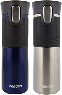 Contigo AUTOSEAL Vacuum Insulated, Stainless Steel Travel Mug, 2 Pack - Keeps Drinks Hot and Cold, Autoseal Button Prevents Spills - No-Slip Comfort Grip - Monaco / Stainless Steel - 16 Ounces