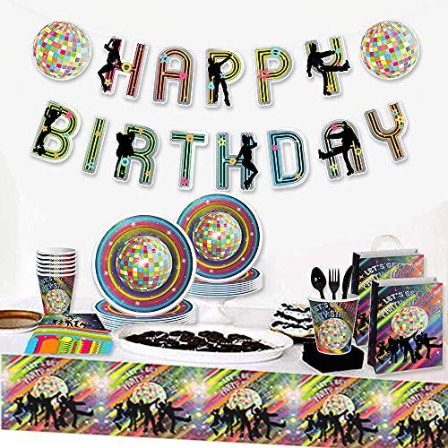 JeVenis 33 pezzi Forniture per feste di compleanno in discoteca Decorazione di compleanno anni '70 Piatti per feste in discoteca e Npkin Decorazioni