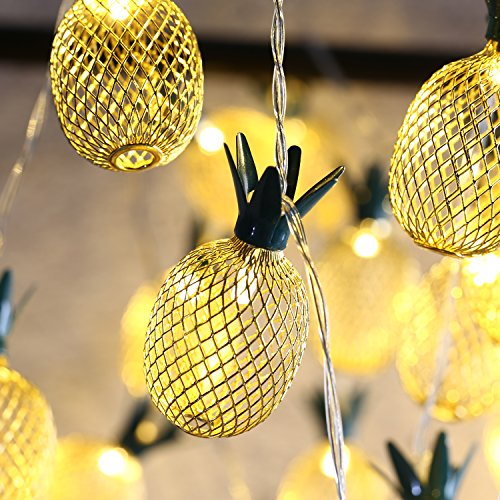 MoKo Guirnaldas Luces, Cadena Luces de Piña con 2 Modos de Lluminación, 3m 20 LED por 2 Pilas AA (NO Incluidas) para la Decoración de Fiestas, Boda, Jardín, Patio, Casas, Navidad - Blanco Cálido