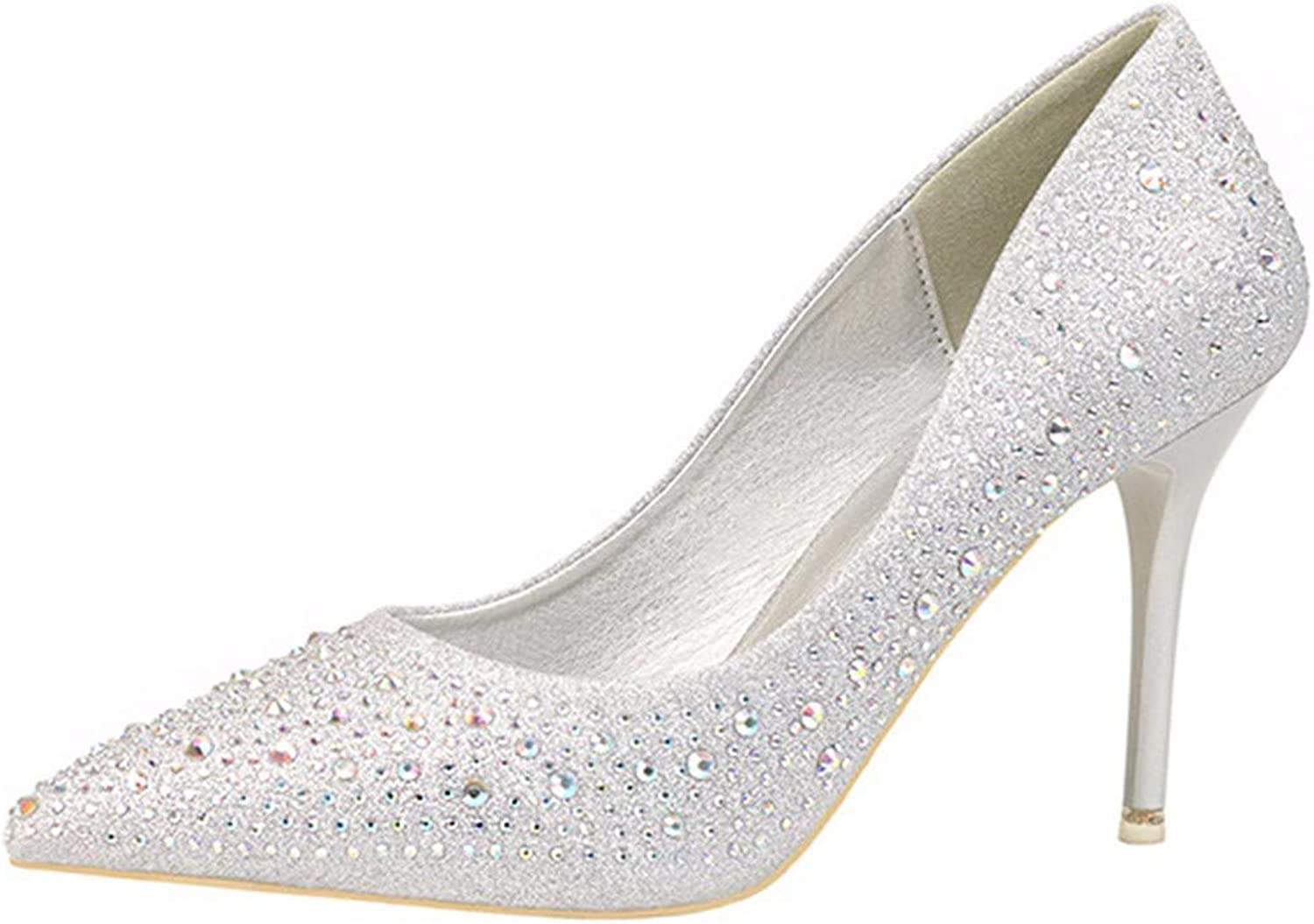 QPGGP-Women's shoes Euro-American Nightclub Women's shoes and Single shoes with Sharp Sequins and Pure colors