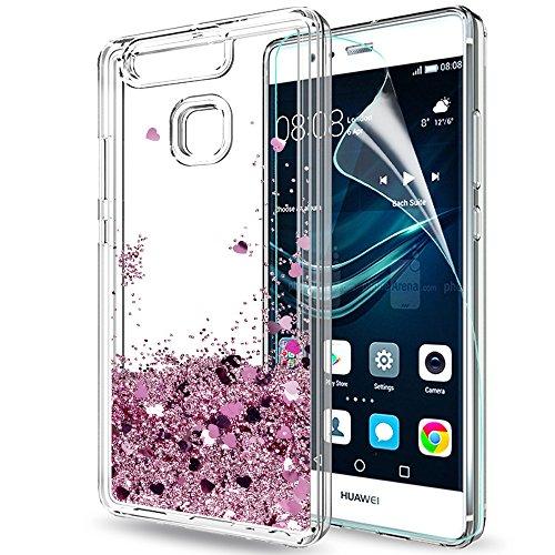LeYi Funda Huawei P9 Silicona Purpurina Carcasa con HD Protectores de Pantalla,Transparente Cristal Bumper Telefono Gel TPU Fundas Case Cover para Movil Huawei P9 Oro Rosa