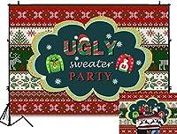 新しい7x5ft醜いセーターテーマパーティー背景冬の粘着性のあるクリスマス写真の背景赤緑醜いクリスマスパターン新年あけましておめでとうございます写真