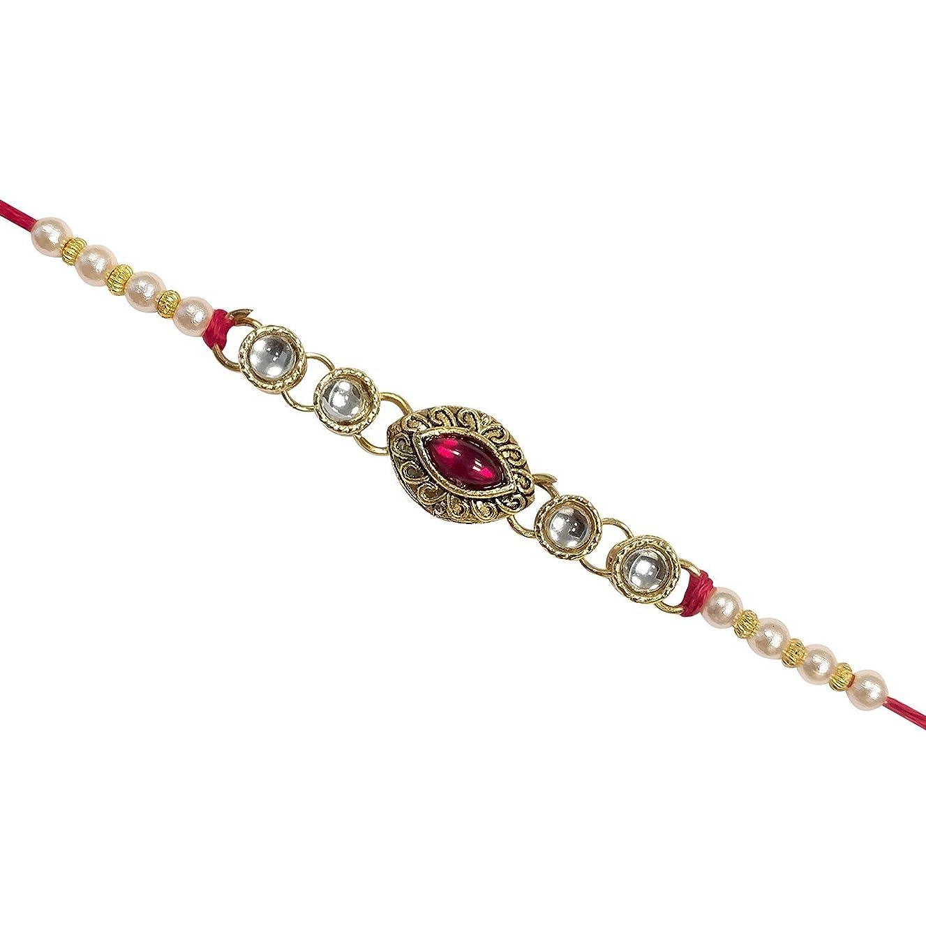 Traditional Handmade Rakhi Thread for Brother Bhaiya Oval Shape Kundan Decorated Rakhi for Rakshabandhan
