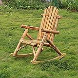 Merax Dual-Purpose Patio Love Seat Deck Pine Wood Outdoor Rocking Chair Log Color Natural Look