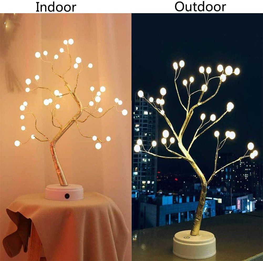 LEDs de luz Artificial para el /árbol Bricolaje Alambre de Cobre /Árbol Luz Nocturna L/ámpara de Navidad Escritorio para Casa Fiesta Boda Decoraci/ón 36LED Bater/ía//USB /Árbol Bons/ái L/ámpara de Mesa