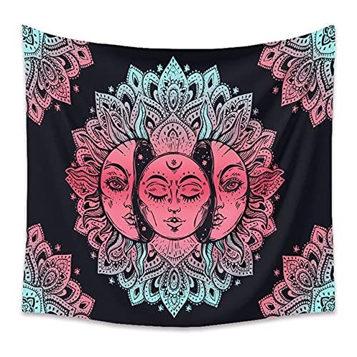 Tapiz de constelación de Mandala de luna y sol negro para colgar en la pared, tapiz Hippie bohemio, tela de fondo, tela A5 130x150cm