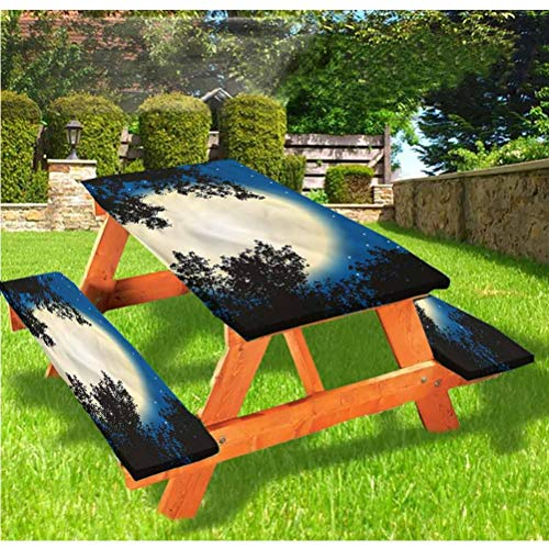 Fantasy Picnic Table and Bench Fitted Tablecloth Cover,Night Sky Trees and Stars Elastic Edge Fitted Tablecloth,28 x 72 Inch, 3-Piece Set for Camping, Dining, Outdoor, Park, Patio