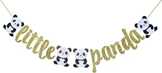 Little Panda Banner Sign Garland for Baby Shower Birthday Party Decor Zoo or Safari Theme Party Photo Prop Backdrop (Gold)