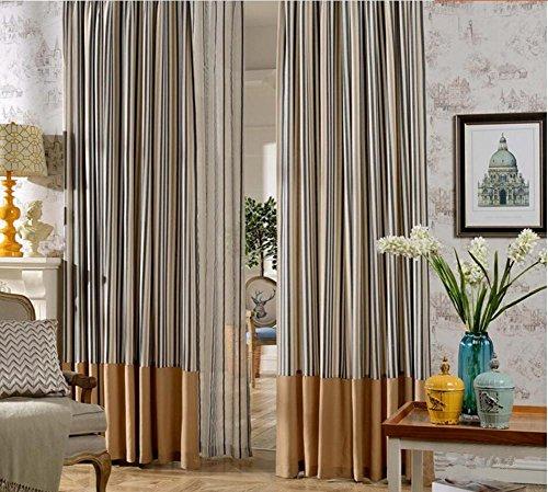 Rideaux Café Couleur Rayures verticales Polyester Tissu Chambre Salon Balcon Produit fini Grande taille -1PC , 1pc(300*270 cm?