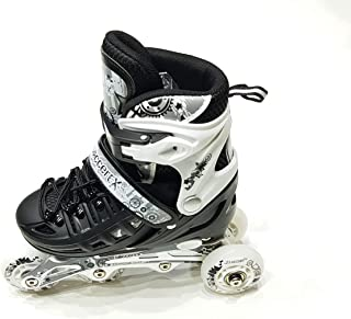 SOCCEREX ADJUSTABLE INLINE ROLLER SKATES FOR BOYS AND GIRLS WITH WHEEL LIGHTS COMPETE SET (31EU TO 42 EU) LF-3181