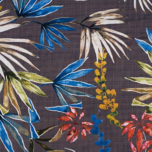 Mooi leven. Bekleding stof blouse stof bloemen bladeren bruin blauw geel groen rood 1,4 m breedte