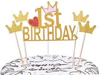 YUINYO First Birthday Party Decoration Gold Happy Birthday Cake Topper 1st Number Crown Cupcake Picks For Theme Party Dess...