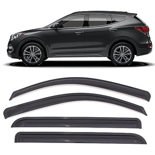 Window Visor Fits 2013-2018 Hyundai Santa Fe | Acrylic Smoke Tinted 4PCS Sun Rain