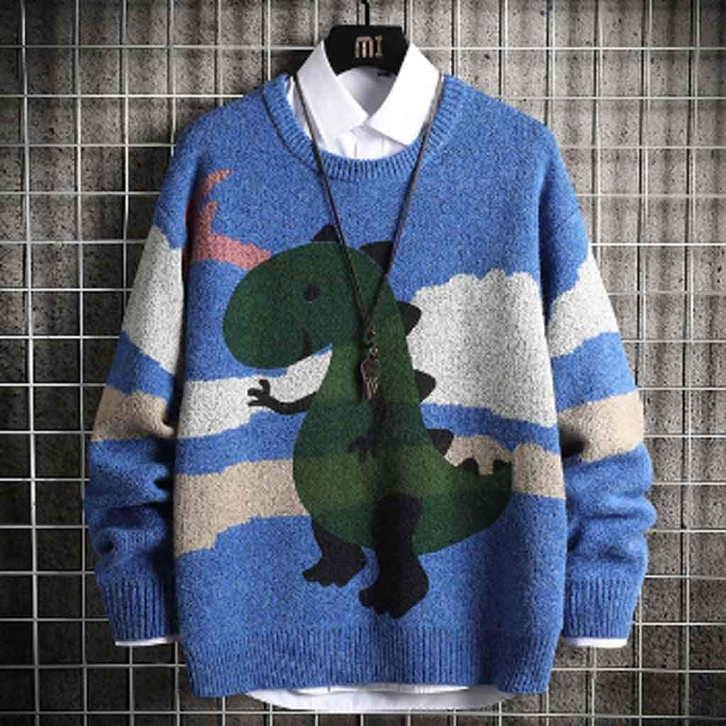 TWDYC Oversized Mens Knitted Sweater Men Anime Dinosaur Sweaters Jumper Pullover Hip Hop Harajuku Grey Sweater Men (Color : B, Size : XL Code)