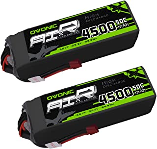 Ovonic 6S 22.2V 4500mAh 50C Lipo Battery with Deans Plug for X Class Drone Racing 70MM 8MM 90MM EDF RC Quadcopter Airplane Helicopter Car Truck (2 Packs)