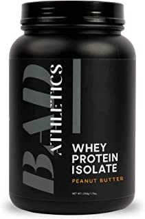 Bad Athletics Grass Fed 100% Whey Protein Isolate, Peanut Butter - Five Ingredients, 20g of Protein, Naturally Flavored & ...
