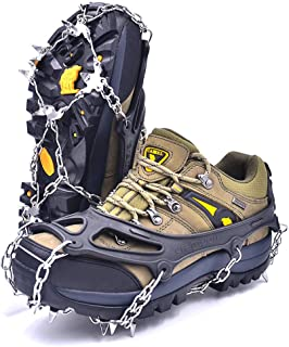 Leanking Ice Snow Grips, Traction Cleats Ice Cleats with 18 Spikes for Walking, Jogging, Climbing and Hiking on Snow, Ice, Mud, Sand and Wet Grass