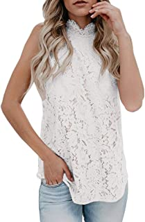 Womens Lace Crochet Sleeveless Tops Sexy Halter Hollow Out Nightout Tanks Blouse