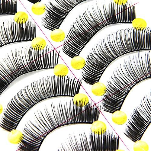 MEYLEE 20 Paires Noir Longs et épais Souple réutilisable Faux Cils Faux Cils pour Maquillage cosmétique