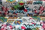 Jersey Graffiti bunt auf weiß / 17,80 EUR/m / Meterware /