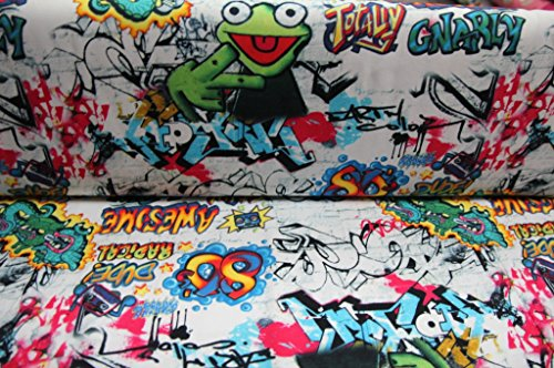 Jersey Graffiti bunt auf weiß / Meterware / Stoff / Kinder / ab 50 cm