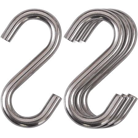 Cozihom Heavy-Duty 304 Stainless Steel S Hooks, 3 Inch Hammock, Swing S Hooks, Industrial Grade Quality Utility Hooks 4 Packs