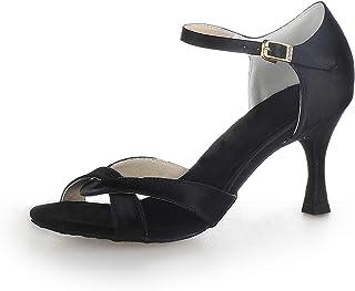 JIAJIA 20514 aux Femmes Sandales en Satin Talon évasé Salsa Latine Performance Chaussures de Danse