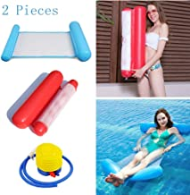 TMcom 2-Pack(Blue,Red)Swimming Pool Lounger Floating Water Hammock loatation Cushion Beach Pool Lounger Multi-Purpose Portable Inflatable Hammock with Inflatable Water Pillow