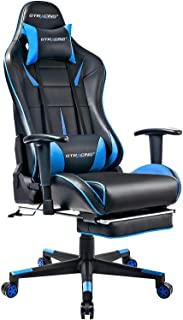 GTRACING ゲーミングチェア オットマン付き リクライニング ゲーム用チェア 多機能 ブルー 909-BLUE