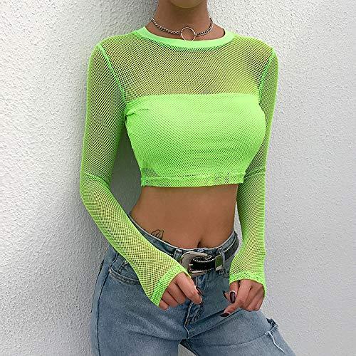 RVXZV Silcsqb Mujeres Neon Green Mesh Crop Top Summer T Shirts Sexy Hollow out Manga Larga Streetwear Tops Camisetas Casual Mesh Female T-Shirt L Green