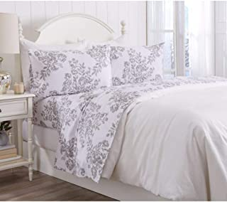 4 Piece Cabin Lodge 100% Turkish Cotton Flannel Sheets Set Majestic White Grey Floral Motif Botanical Printed Design Bed Sheets Queen Reversible Breathable Deep Pocket All Season Farmhouse Bedding Set