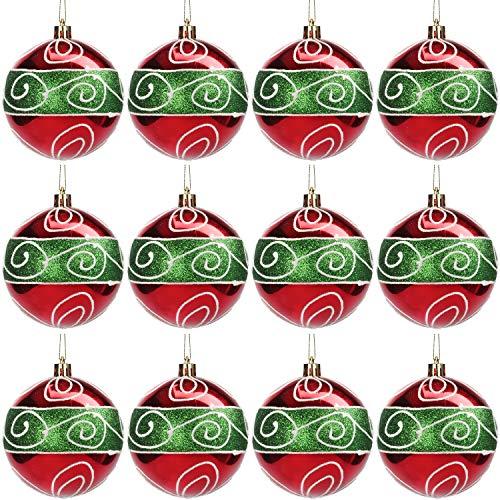 BELLE VOUS Bola Navidad (Pack de 12) Adornos Navidad 8 cm Bolas Verde y Rojo con Brillo y Cuerda - Decorar Árbol de Navidad Adornos Navideños Colgantes para Fiestas Interior Exterior