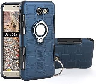 QiongNi Case for Samsung SM-J727U SM-J727R4 Galaxy J7 2017 / SM-J727AZ Galaxy Halo/SM-J727A J7 Sky Pro/SM-S737TL Galaxy J7 Sky Pro 4G Case Cover + 360 Degree Rotating Ring Holder Kickstand Blue