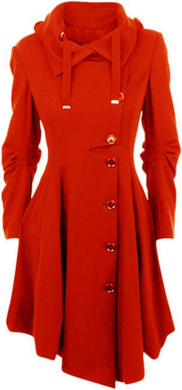 NDJqer Long Medieval Trench Woolen Black Collar Coat Dallas Mall Stand Max 88% OFF Women