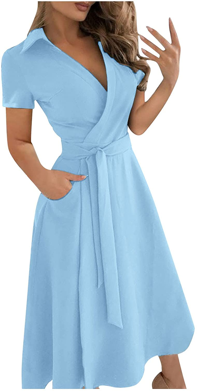 Fashion Womens Pure Color V-neck Lacing Slim Body Wrap Hips Long Dress (Blue,XXL)