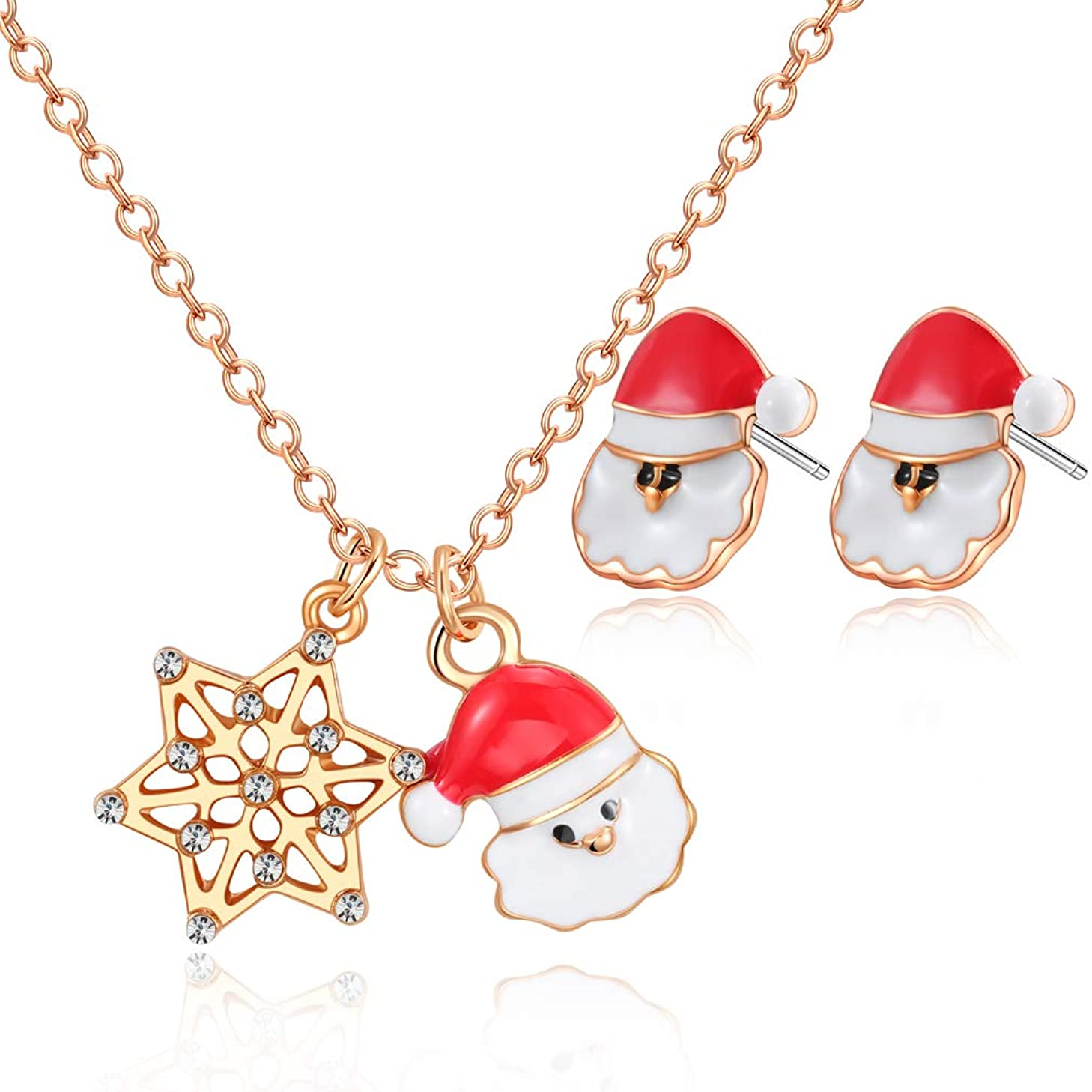 Santa Pendant Necklace set,14K Gold Plated Enamel Colors with earrings Set for Teen Girls, Christmas Advent Gift Necklace