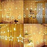 Lichterkette mit LED Kugel weihnachtsdeko,12 Sterne Lichtervorhang, Weihnachts-Innenbeleuchtung, Lichterketten für Innenräume, 8 Modi Innen & Außenlichterkette Wasserdicht, Warmweiß Sternenvorhang - 8