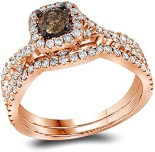 Jewel Tie 14k Rose Gold Round Chocolate Brown And White Diamond Bridal Solitaire Halo Engagement Ring with Curved Matching Wedding Band (1.0 cttw.)