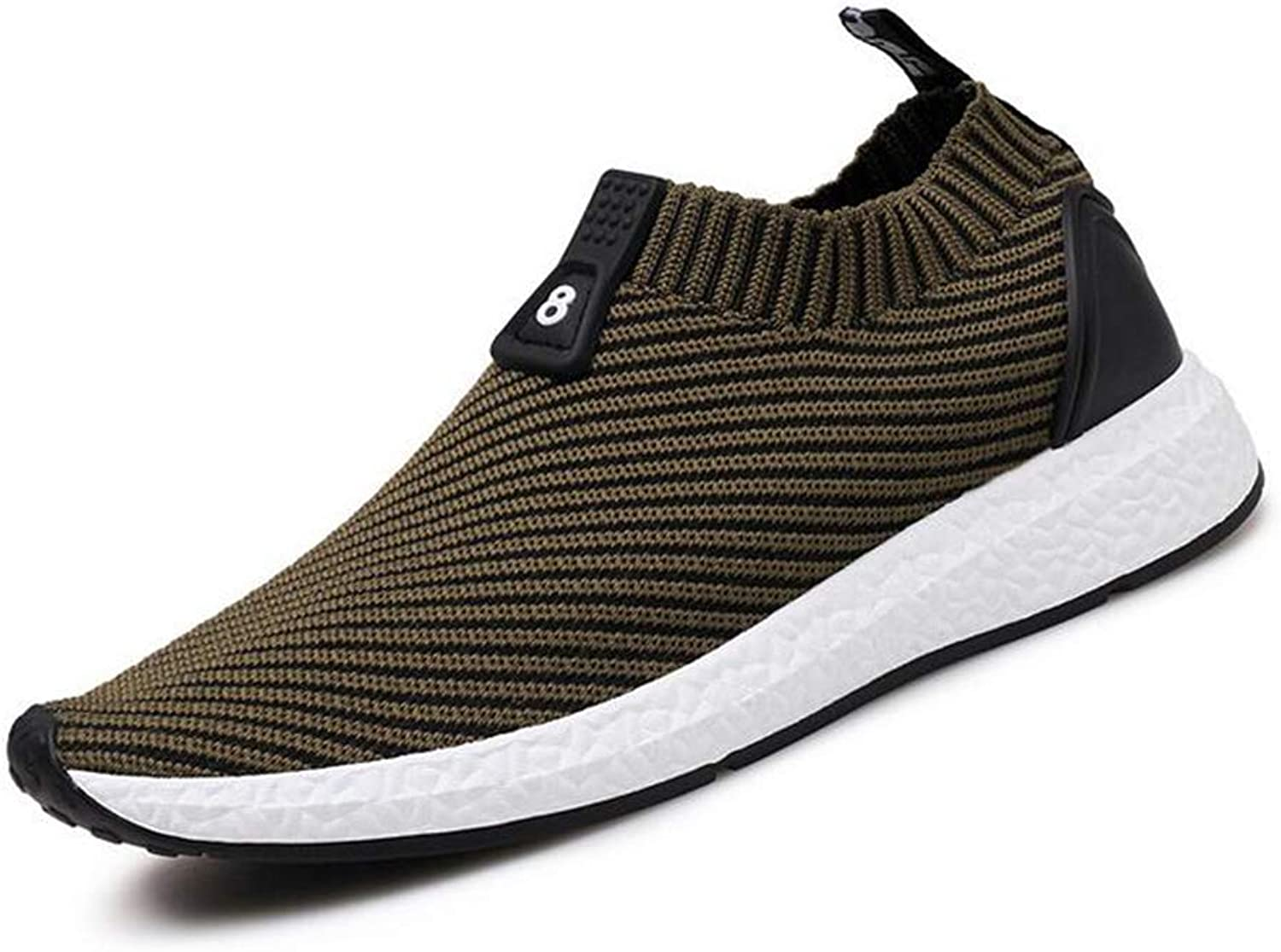 Y-H Men's shoes, Spring Fall Mesh Elastic Socks shoes, Student Slip-Ons Comfort Sneakers Running shoes Travel shoes (color   Green, Size   41)
