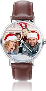 Engraved Watches Mens Personalized Watch Customized Photo Watches Wrist Watches Handmade Couple Watch Casual Black Leather Strap Personalized Gift Birthday for Father, Husband, Wife, Friends