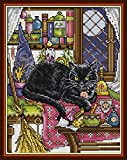 Good Value Cross Stitch Kits Beginners Kids - Black Cat 11 CT 15'X 11', DIY Handmade Needlework Set Cross-Stitching Accurate Stamped Patterns Embroidery Frameless (at Home)