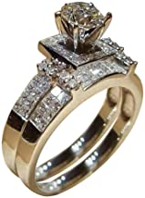 Clearance Sale! 2 Pieces Rings for Women, Jiayit Super Women Shiny White Sapphire Diamond Engagement Ring Elegant Stackable Bridal Wedding Rings Christmas Gifts for Women and Girls (10, Silver)