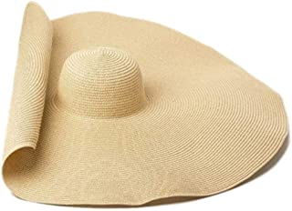 iTemer Sombrero de Paja de Playa de Verano Sombreros UV de Viaje Plegable Sombrero con Lazo Nudo para Mujer Verde Claro