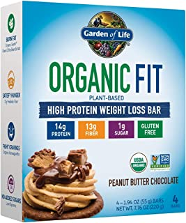 Garden of Life Organic Fit Protein Bar - Peanut Butter Chocolate 1.94oz x 4 Bars(Total 7.76oz), Pack of 1