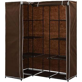 Festnight Armario de Tela Ropa Organizador Closet Portátil Guardarropa Marrón 130 x 87 x 169 cm: Amazon.es: Hogar