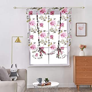 """WUBODTI Roman Tie Up Shades Curtains Floral Printed Window Treatments Valances Sheer Voile Tulle Fabric Balloon Drapes for Small Kitchen Bedroom Windows, 42"""" W x 63"""" L,1 Panel"""
